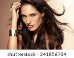beautiful woman with long dark... | Shutterstock . vector #241856734