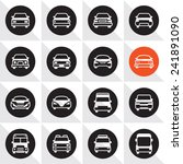 Car Icon Set. Cars Front Icons.
