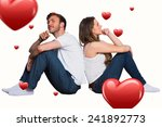 young couple sitting on floor...   Shutterstock . vector #241892773