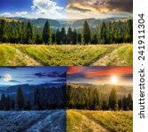 day and night collage of composite hillside of mountain range with coniferous forest and meadow path image - stock photo