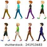 faceless men in walking pose | Shutterstock .eps vector #241913683