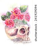 water color  from a skull roses ... | Shutterstock . vector #241929094