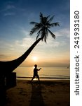 silhouette life at sunset beach. | Shutterstock . vector #241933180