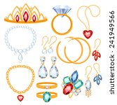 set of jewelry items. gold and... | Shutterstock .eps vector #241949566