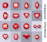 set of flat style red jewels.... | Shutterstock .eps vector #241949614