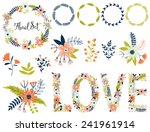 vector set with vintage flowers.... | Shutterstock .eps vector #241961914