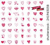 54 heart set  isolated on white ... | Shutterstock .eps vector #241965058