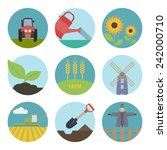 farm  flat icons. set of round... | Shutterstock .eps vector #242000710