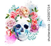 Skull  Flowers  Watercolor