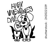 Stock vector valentines day cartoon dog and cat eps vector stock illustration 242022109