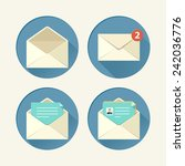 mail icon set in flat style.... | Shutterstock .eps vector #242036776