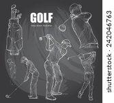 illustration of golf. hand... | Shutterstock .eps vector #242046763