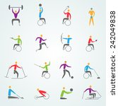 disabled sports icons set with... | Shutterstock .eps vector #242049838