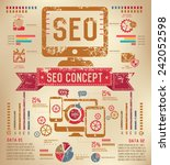 seo info graphic design on old... | Shutterstock .eps vector #242052598