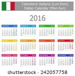 2016 italian type 1 calendar... | Shutterstock .eps vector #242057758