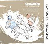 taekwondo background design.... | Shutterstock .eps vector #242062690