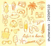 summer vacation holiday icons... | Shutterstock .eps vector #242069110