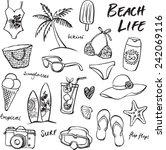 Summer Vacation Holiday Icons...