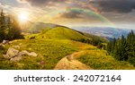composite mountain landscape. pine trees and boulders near meadow path on hillside in sunset light with rainbow - stock photo