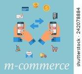 m commerce. color flat design... | Shutterstock .eps vector #242078884