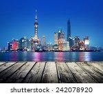Shanghai Skyline And Wooden...