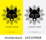 black wolf  fox   head  face  ... | Shutterstock .eps vector #242109808