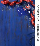 Small photo of Happy Australia Day, January 26, theme dark blue vintage distressed wood background with Australian flag and decorations with copy space for your text here, vertical.