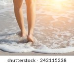 Beach Travel Woman Walking On...