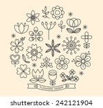 flower icons with outline style ...