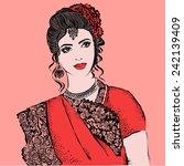 indian woman.vector... | Shutterstock .eps vector #242139409