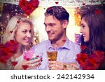 friends toasting against hearts | Shutterstock . vector #242142934