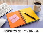 freelance word on note pad... | Shutterstock . vector #242187058