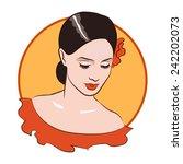 beautiful girl face 1. flamenco ... | Shutterstock .eps vector #242202073