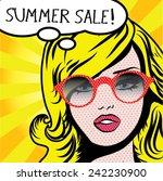 pop art woman summer sale  sign....   Shutterstock .eps vector #242230900