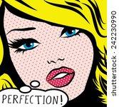 pop art woman perfection  sign. ... | Shutterstock .eps vector #242230990
