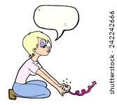 cartoon girl playing computer... | Shutterstock .eps vector #242242666