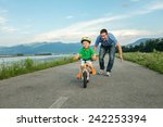 happiness father and son on the ... | Shutterstock . vector #242253394