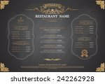 vintage menu restarante chalk... | Shutterstock .eps vector #242262928