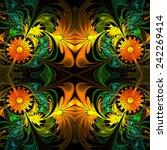 Flower Pattern. Orange  Green...