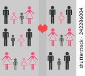 pixel family set | Shutterstock .eps vector #242286004