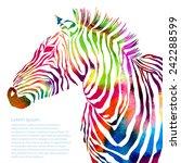 Stock vector animal illustration of watercolor zebra silhouette vector 242288599