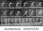 Consecutive images of a man running. From Eadweard Muybridge
