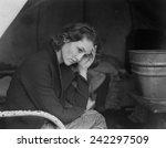 sad daughter of unemployed... | Shutterstock . vector #242297509