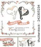 retro wedding template set with ... | Shutterstock .eps vector #242305234