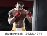 sportsman kick boxer intense... | Shutterstock . vector #242314744
