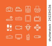 set of simple flat icons with... | Shutterstock .eps vector #242334136