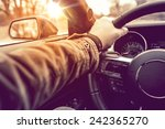 hand on wheel car driving. ... | Shutterstock . vector #242365270