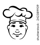 young smiling chubby chef in a... | Shutterstock .eps vector #242389939