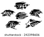 set of black and white racing... | Shutterstock .eps vector #242398606