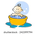 happy little baby having a bath ... | Shutterstock .eps vector #242399794
